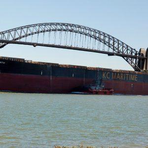 Sydney Harbour Bridge and iron ore ship