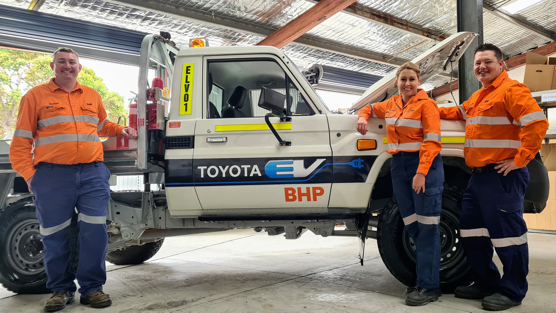 The electric ute being trialled by BHP